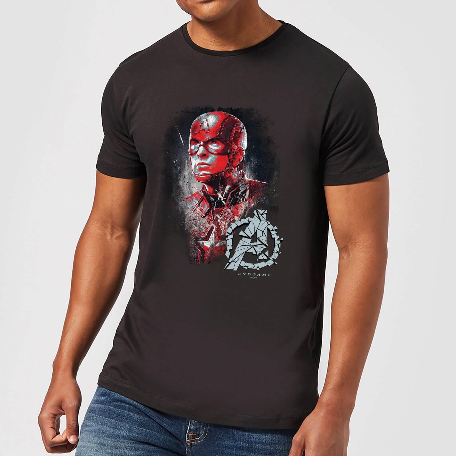 f3ef8fb47d8 Avengers Endgame Captain America Brushed Men's T-Shirt - Black Clothing    Zavvi