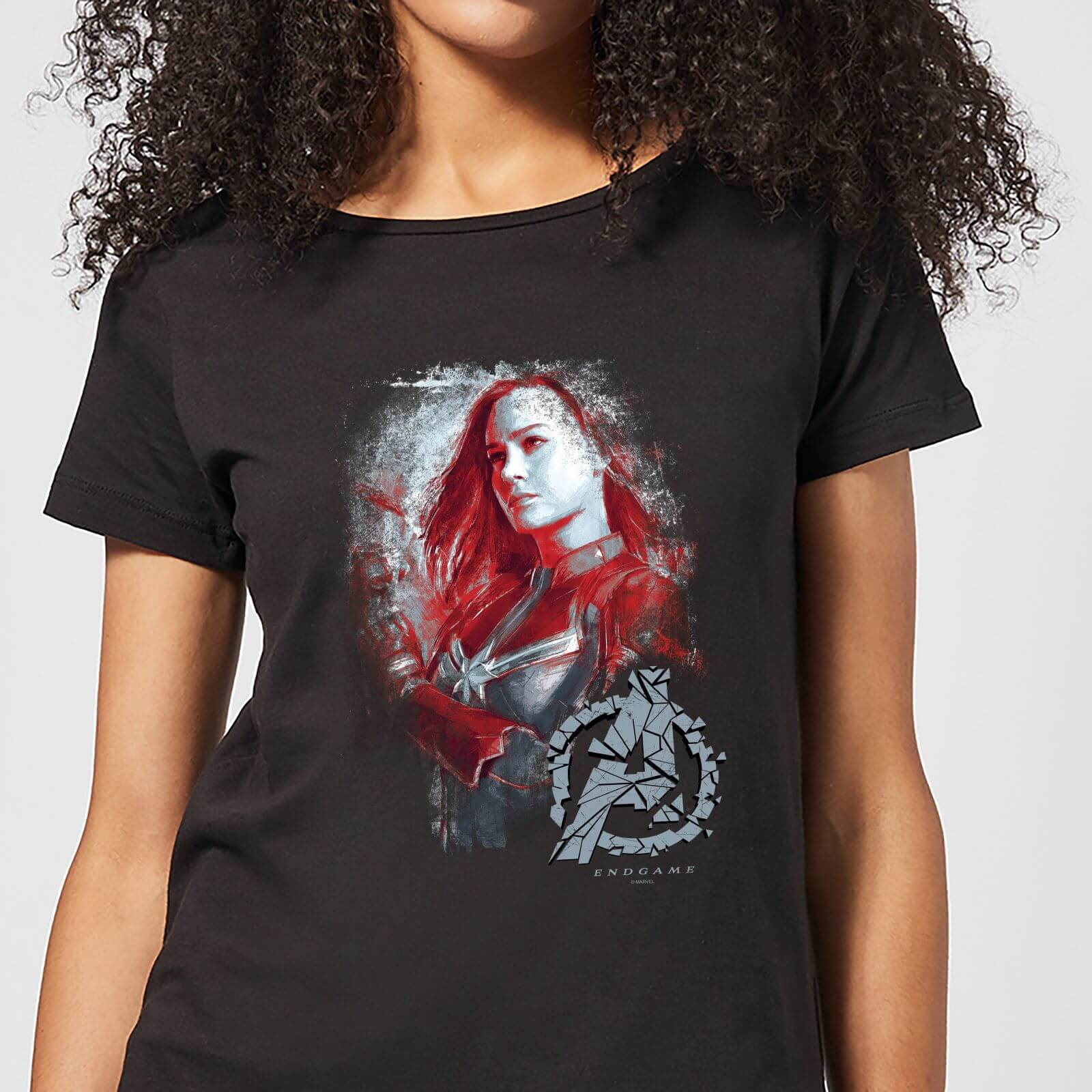 61f5c0bb Avengers Endgame Captain Marvel Brushed Women's T-Shirt - Black Clothing |  Zavvi