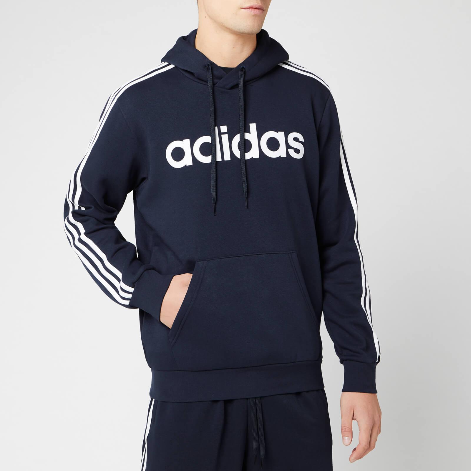 reputable site b2216 c86ef adidas Men's Essential 3 Stripe Pullover Hoodie - Legend Ink/White
