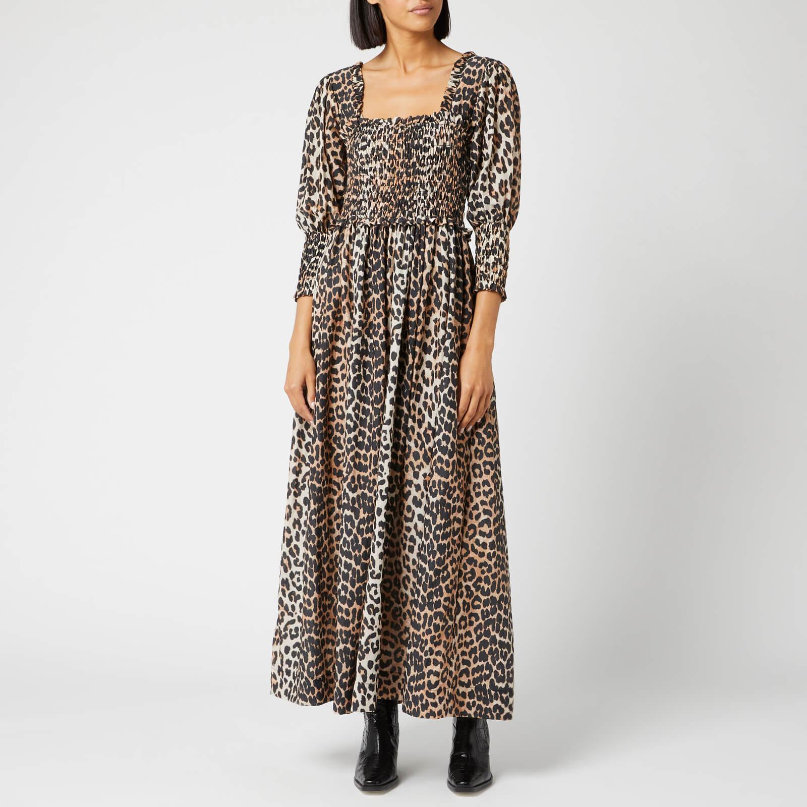 38a11631f5af Ganni Women's Cotton Silk Dress - Leopard - Free UK Delivery over £50