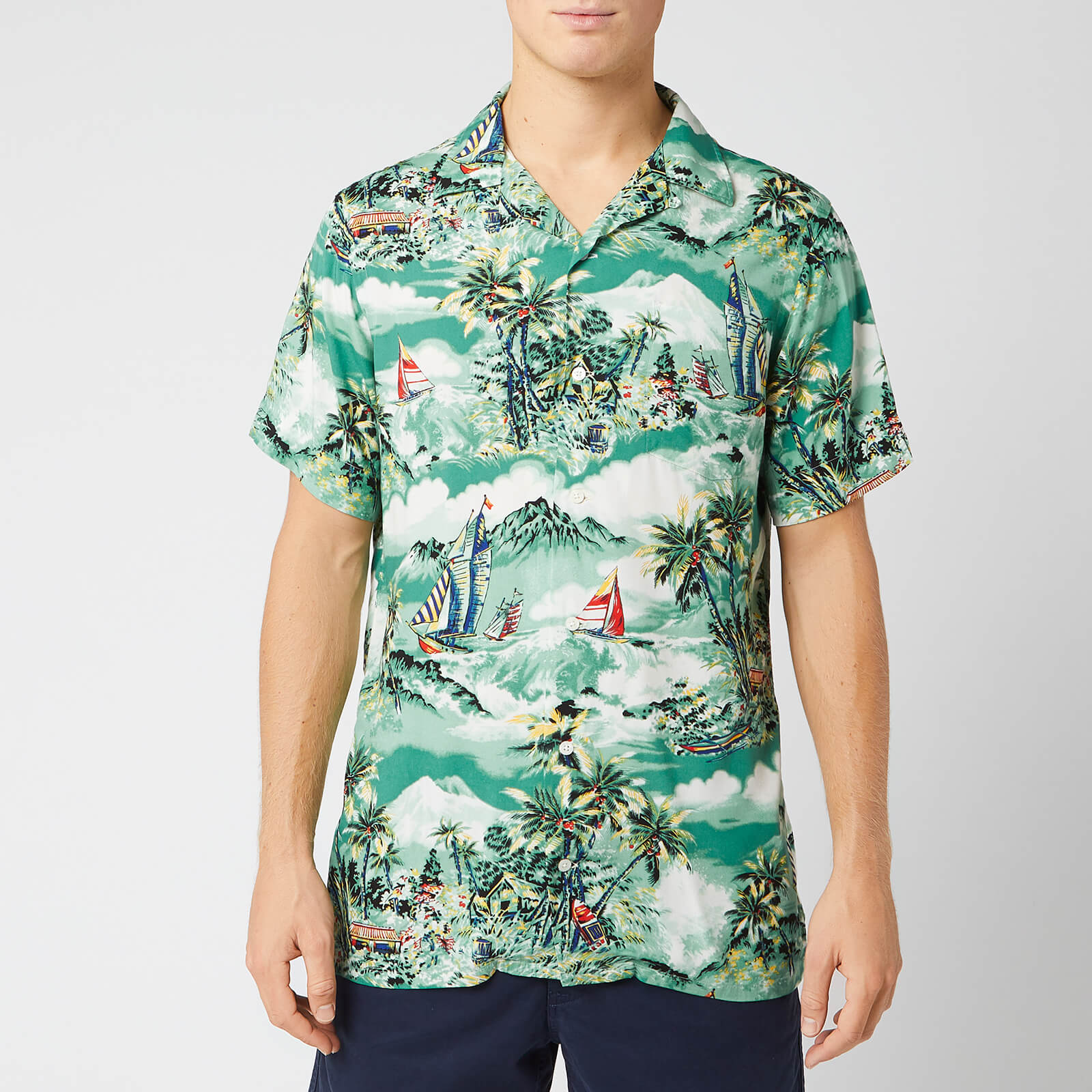 Lauren Tropical Polo Men's Ralph Collar Shirt Camp Stormy TlFKJuc13