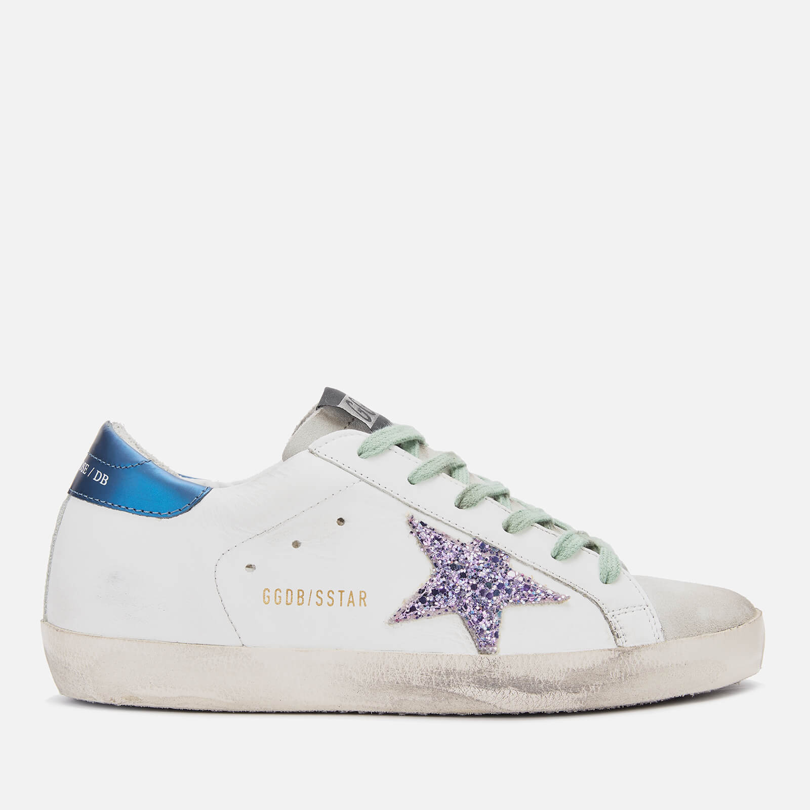 49faeb3eec Golden Goose Deluxe Brand Women's Superstar Leather Trainers - White  Blue/Pink Glitter