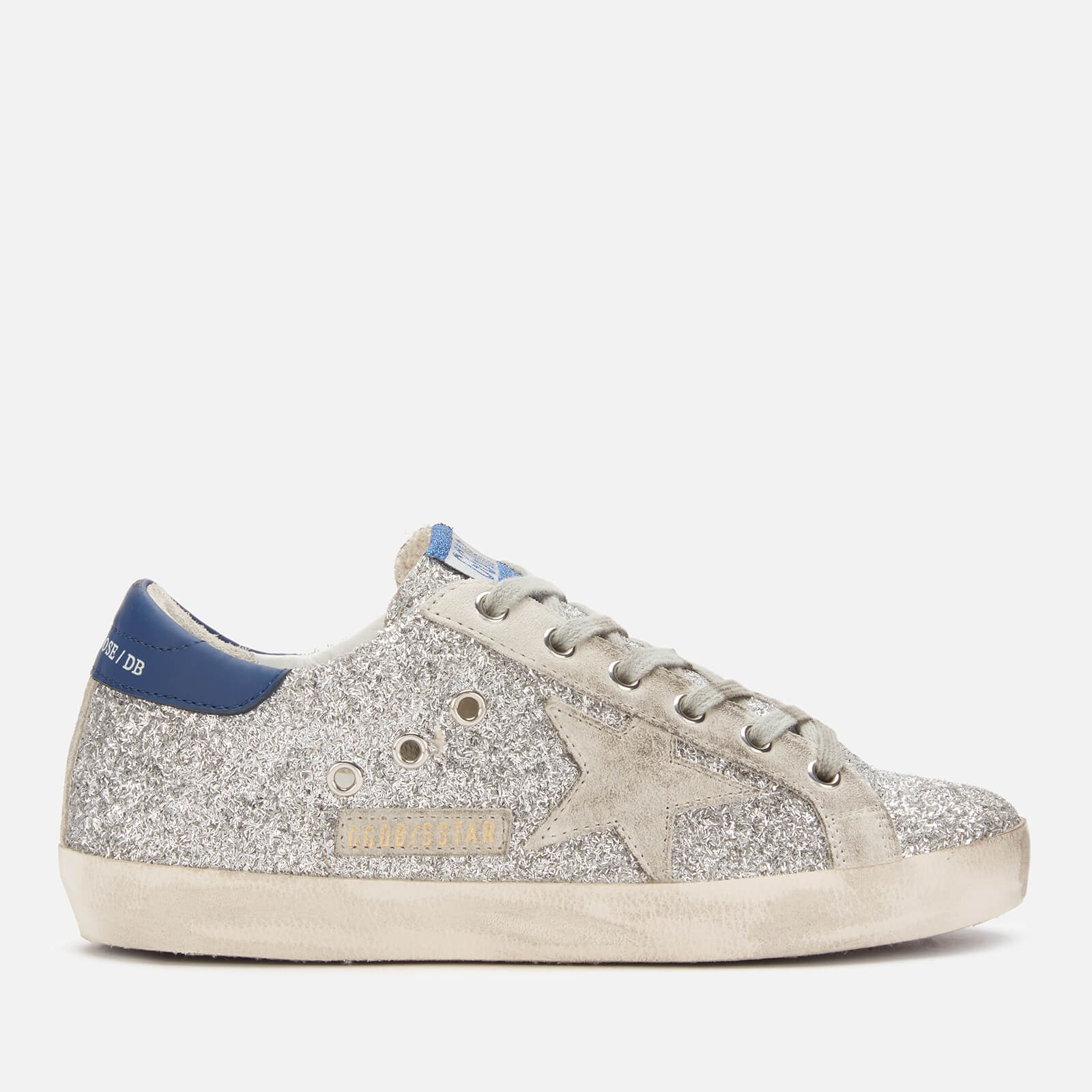 Golden Goose Deluxe Brand Women's Superstar Leather Trainers - Silver Glitter Blue/Ice Star - UK 6 - Silver