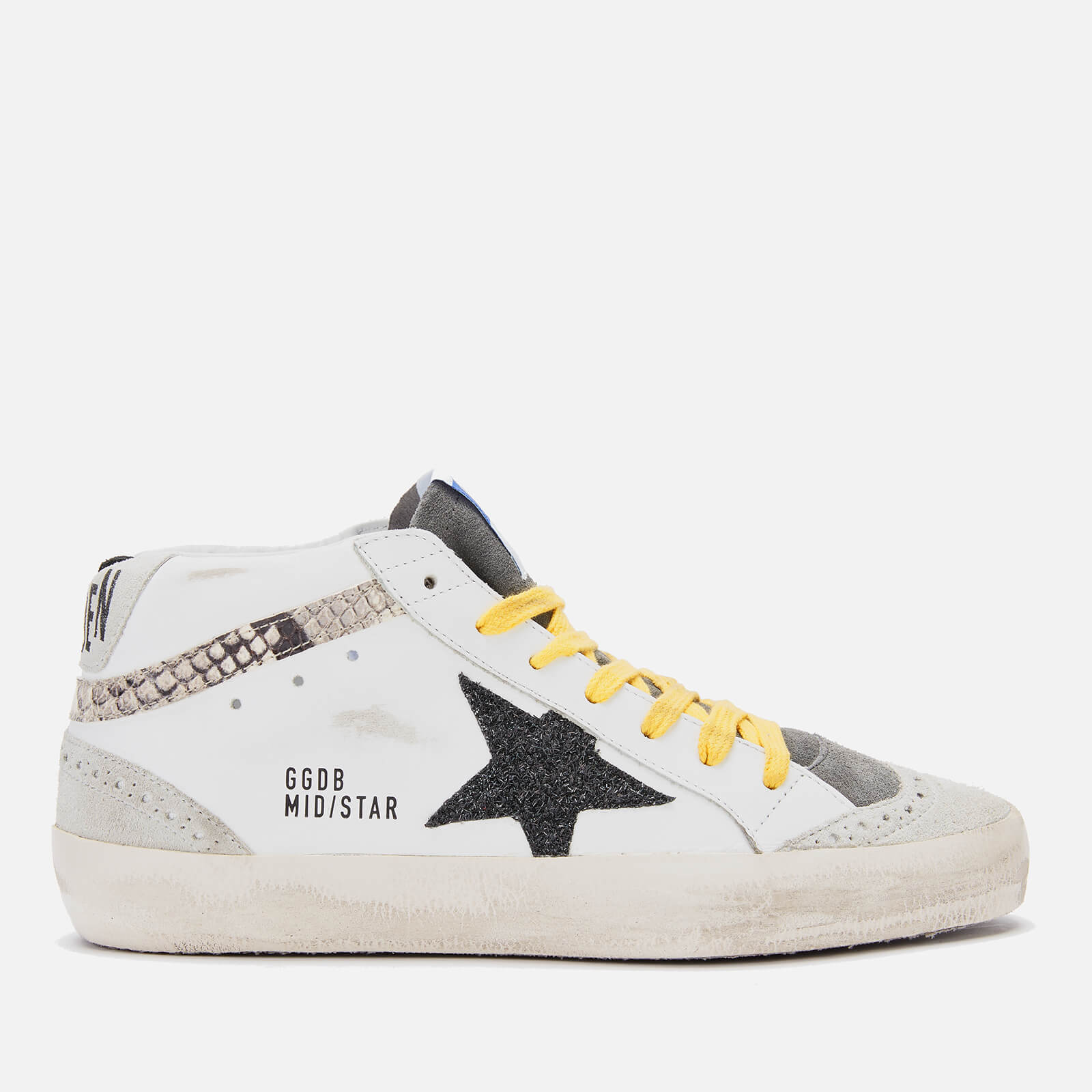 Golden Goose Deluxe Brand Women's Mid Star Leather Trainers - White/Snake Print/Black Glitter Star - UK 4 - White