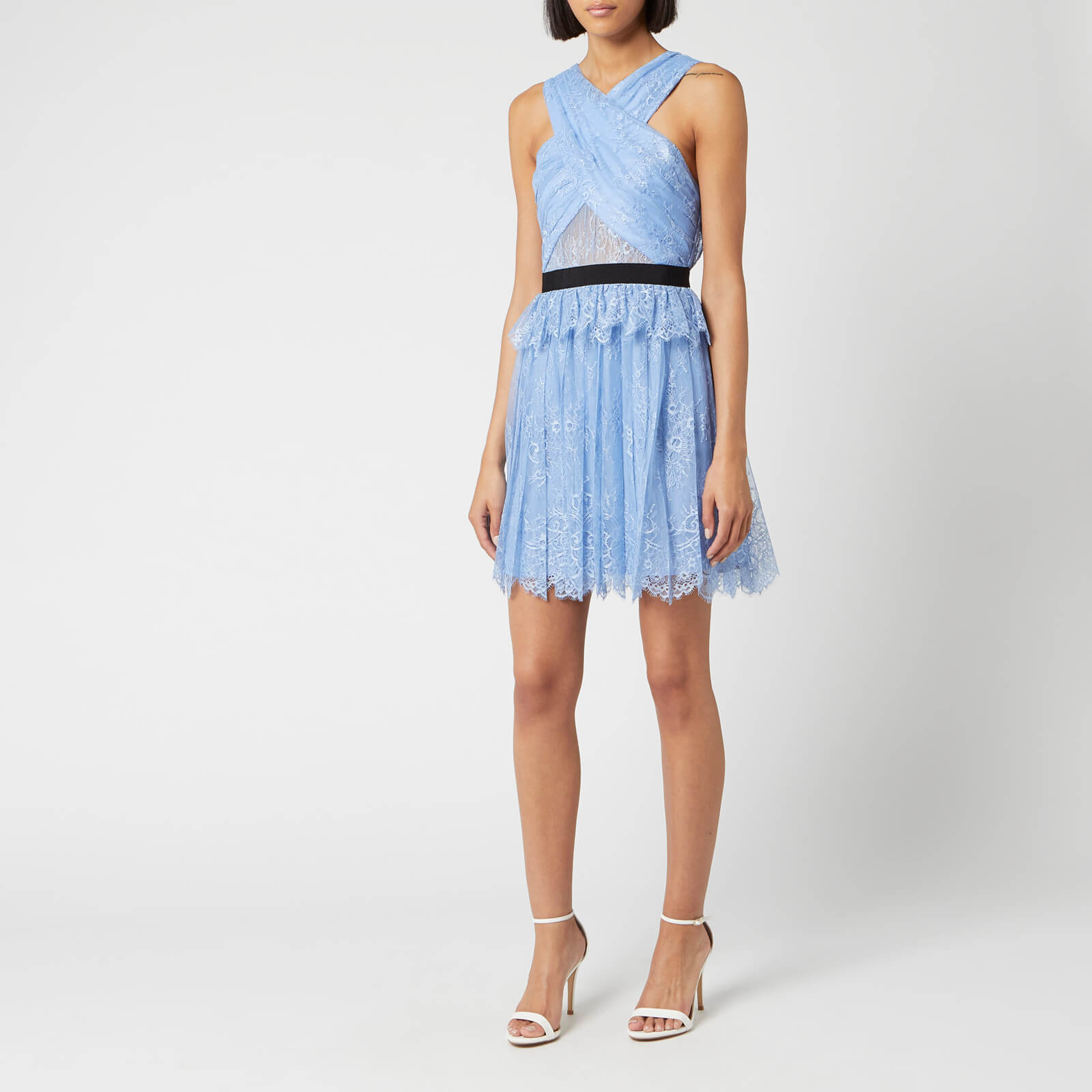 Self Portrait Womens Cross Front Fine Lace Mini Dress Blue