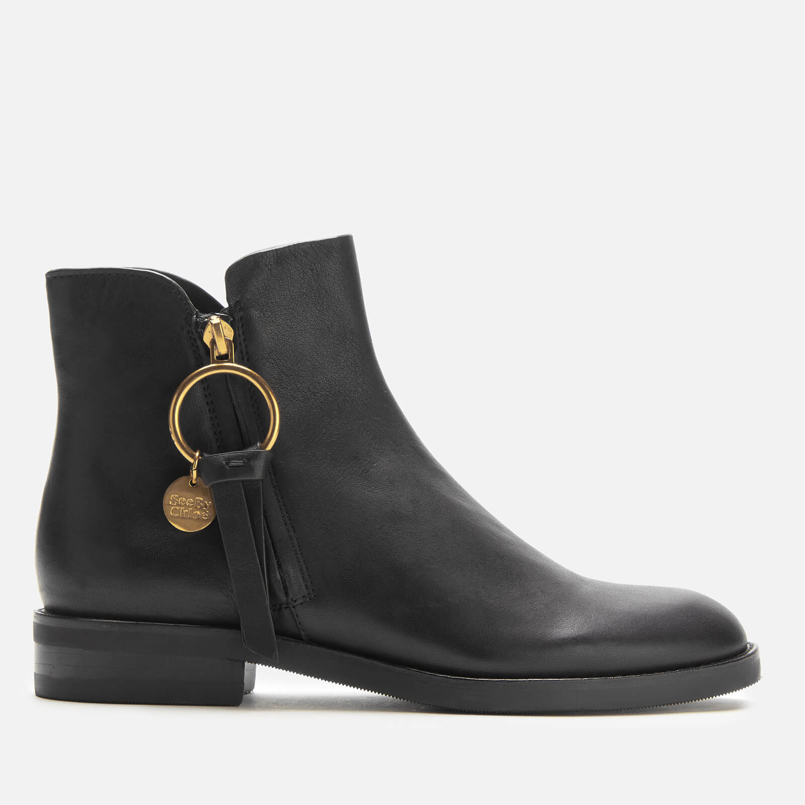 Leather Flat Ankle Boots - Nero