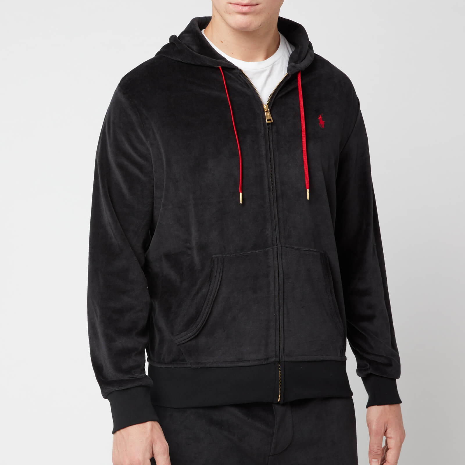 Lauren Black Velour Hoody Polo Zip Ralph Men's SpUMjqGLVz