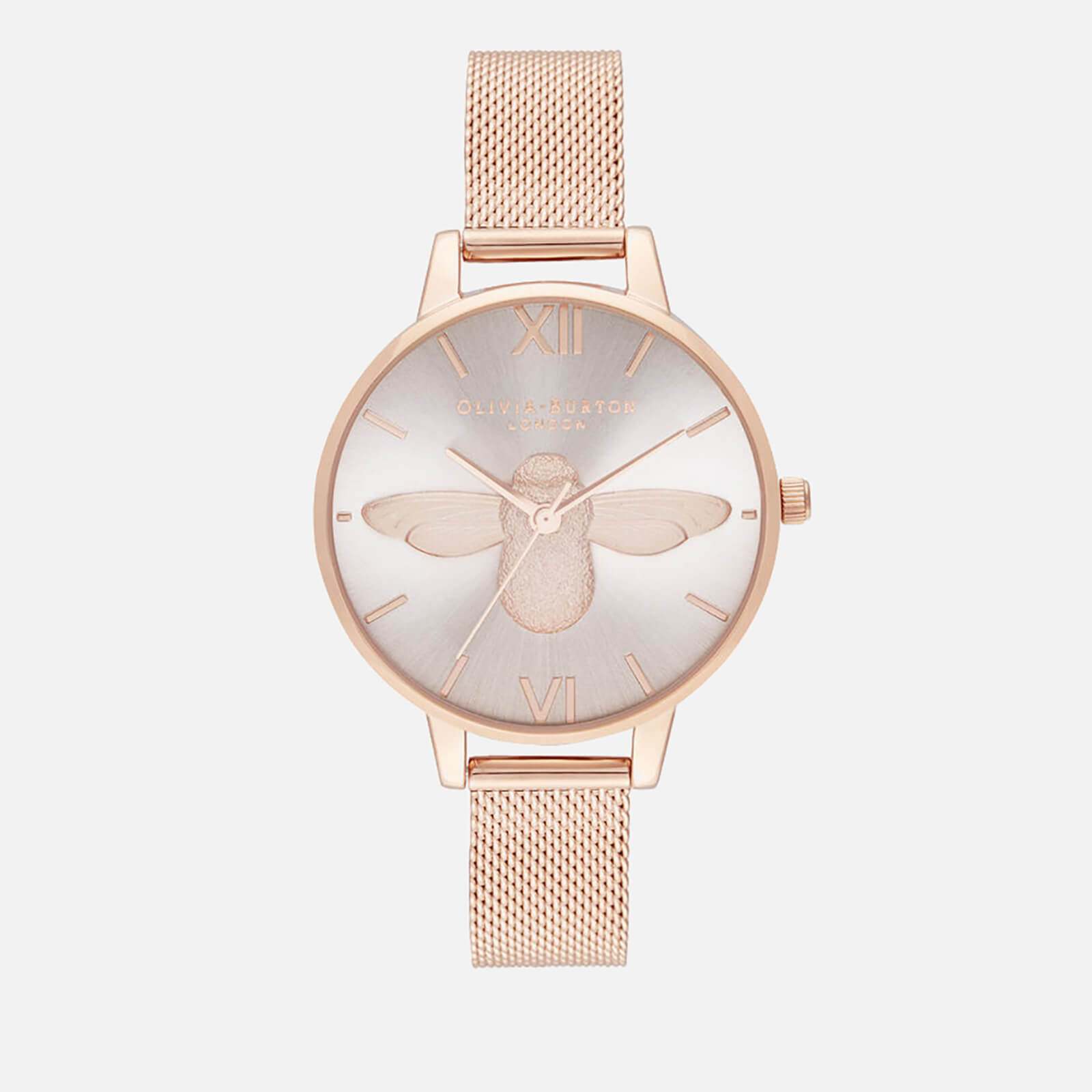 Olivia Burton Women's 3D Bee Mesh Watch - Demi Blush Dial & Rose Gold Mesh
