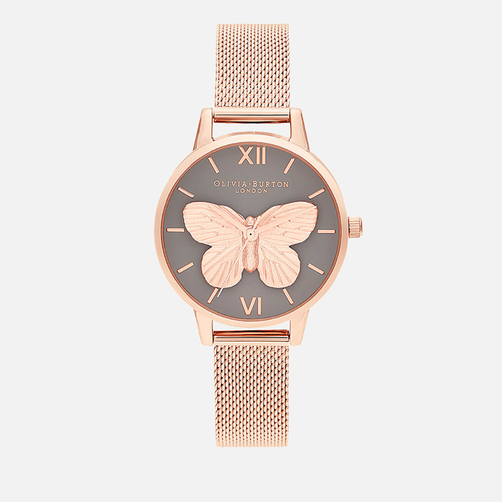 Olivia Burton Women's 3D Butterfly Mesh Watch - Grey Dial & Rose Gold