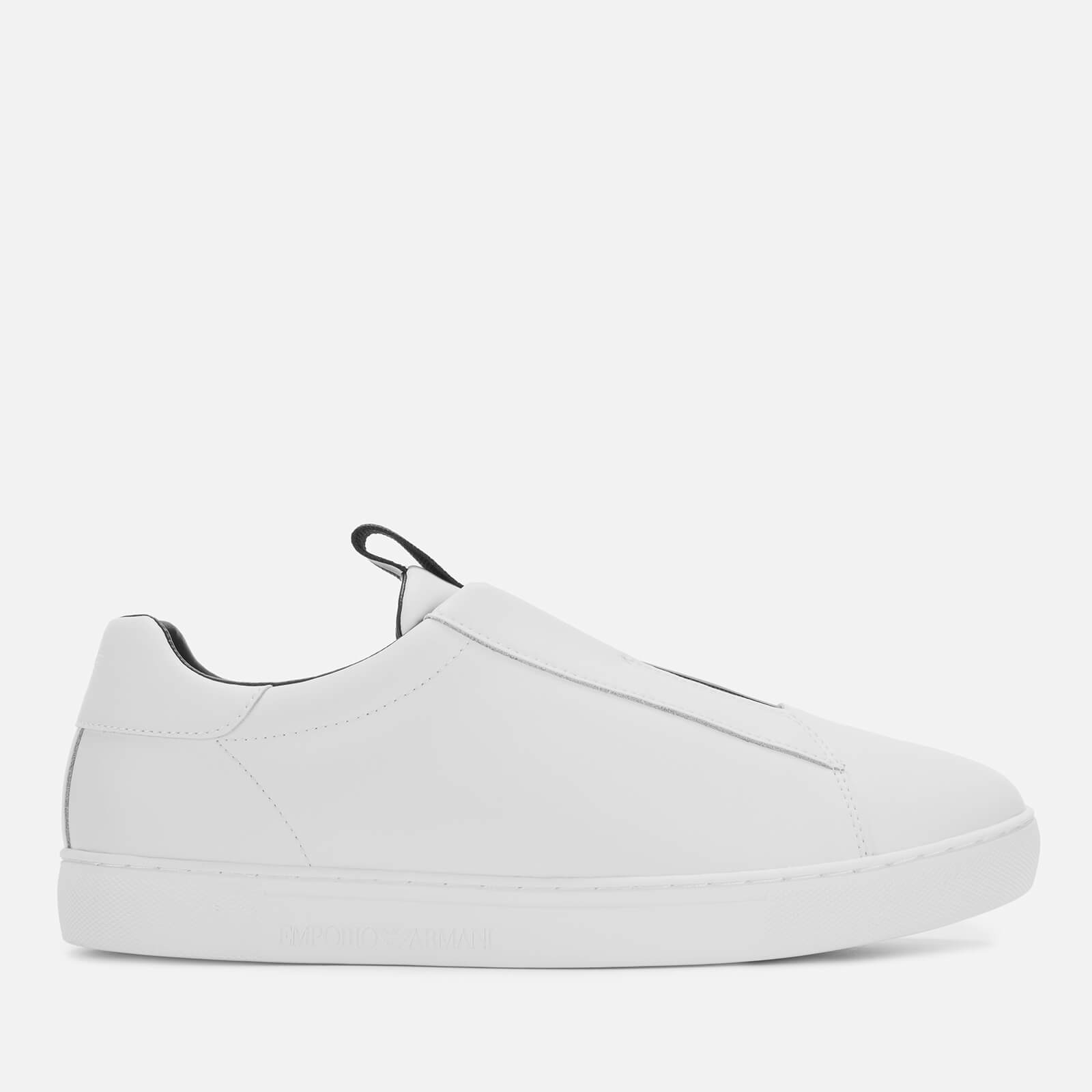 no sale tax on feet images of no sale tax Emporio Armani Men's Stan Leather Slip-On Trainers - White/Black/White