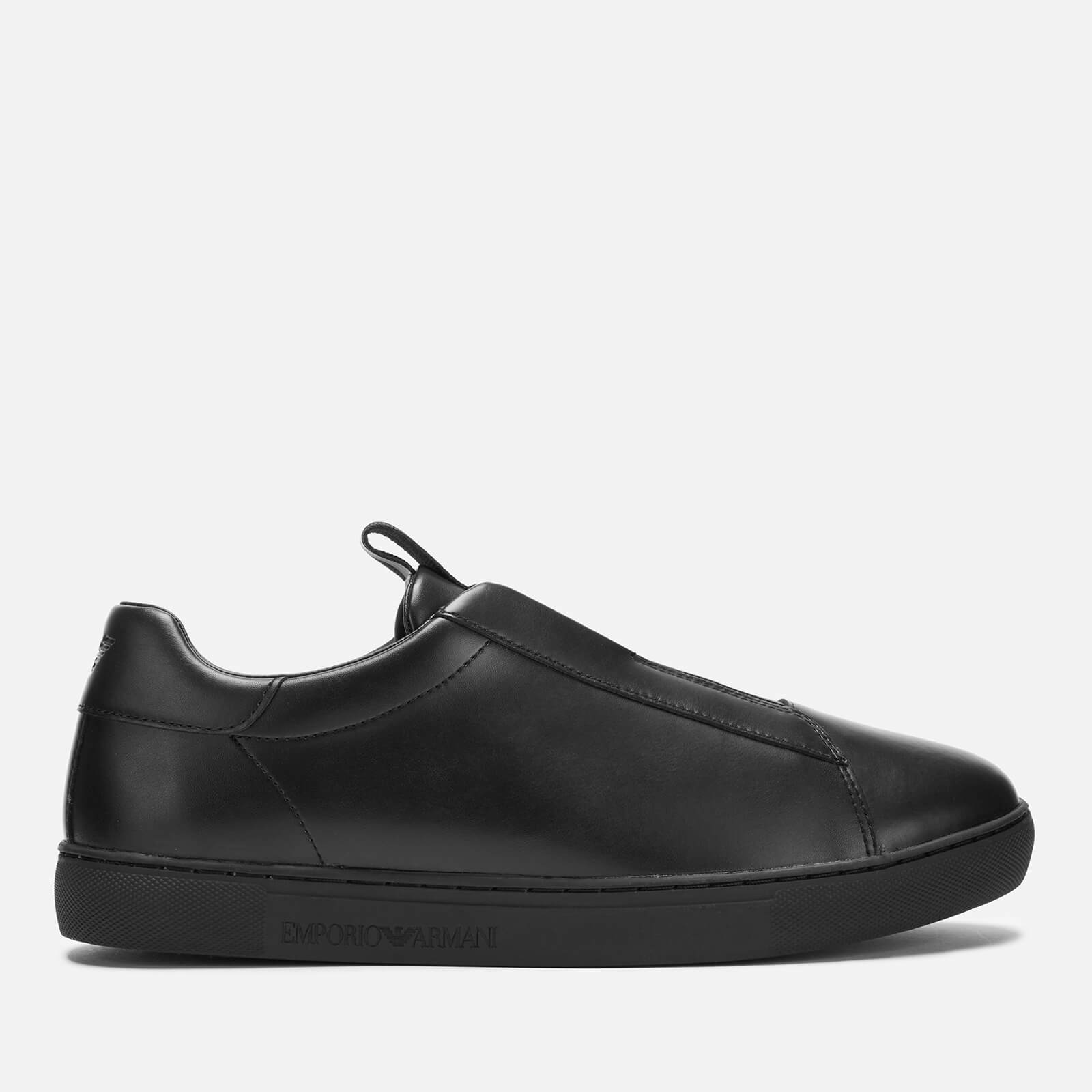 special for shoe famous brand great look Emporio Armani Men's Stan Leather Slip-On Trainers - Black/Black/Black