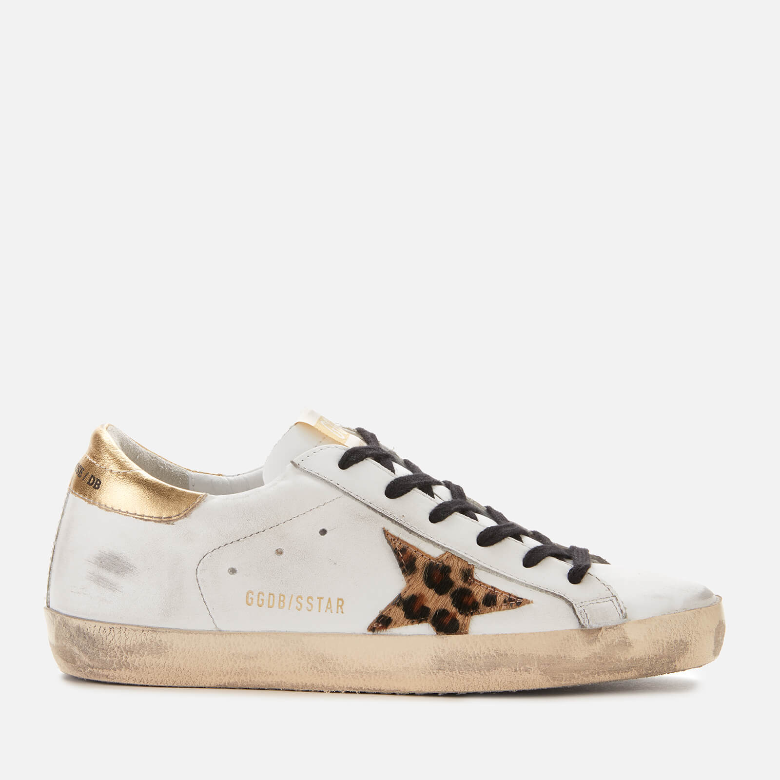 Golden Goose Deluxe Brand Women's Superstar Leather Trainers - White/Gold/Leopard Star - UK 7 - White