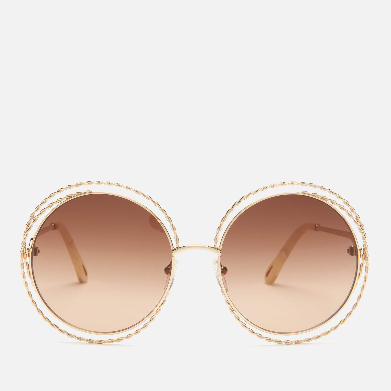 Chloe Women S Carlina Round Frame Sunglasses Gold Brown Lens