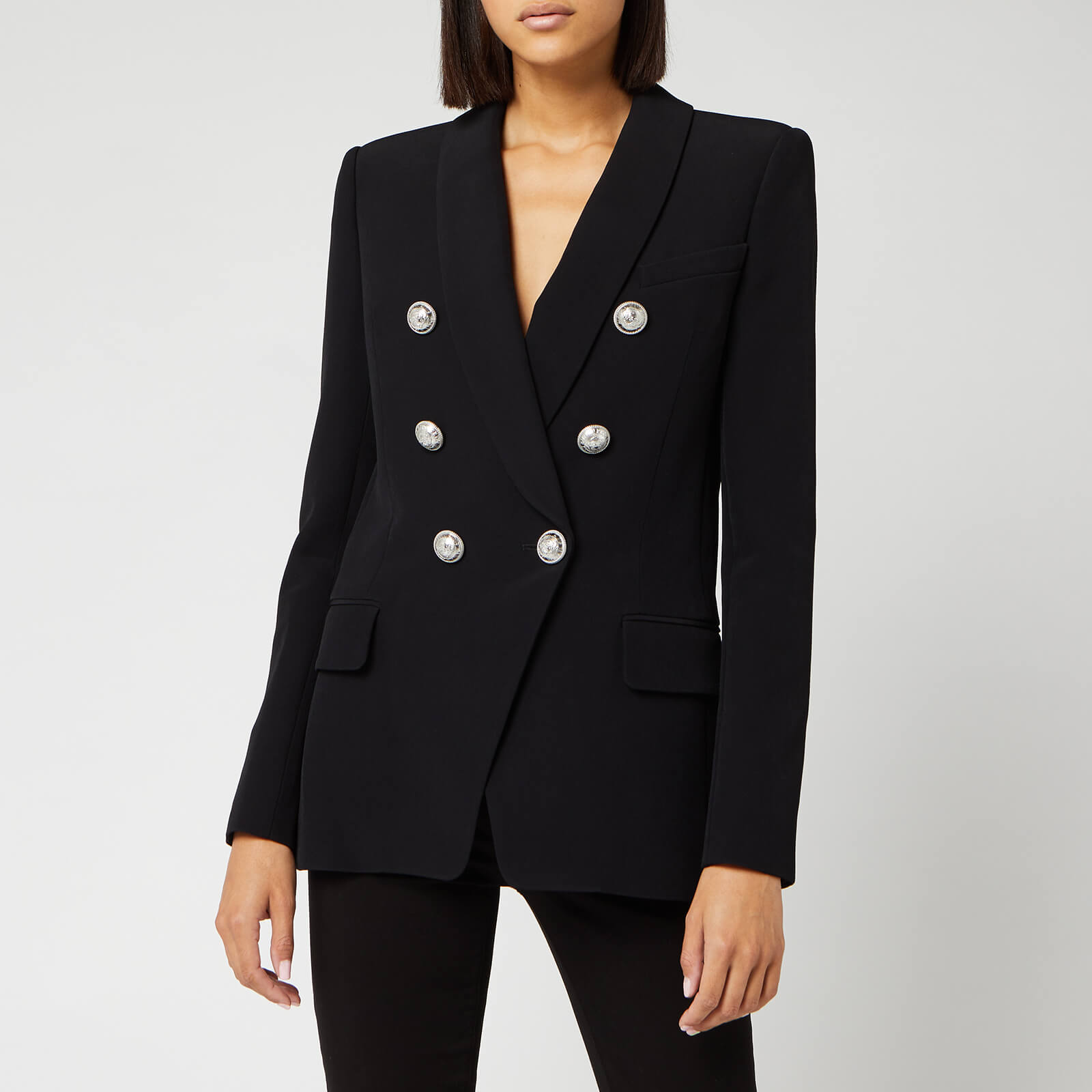 Balmain Women's Oversized 6 Button Crepe Jacket - Black - FR 34/UK 6