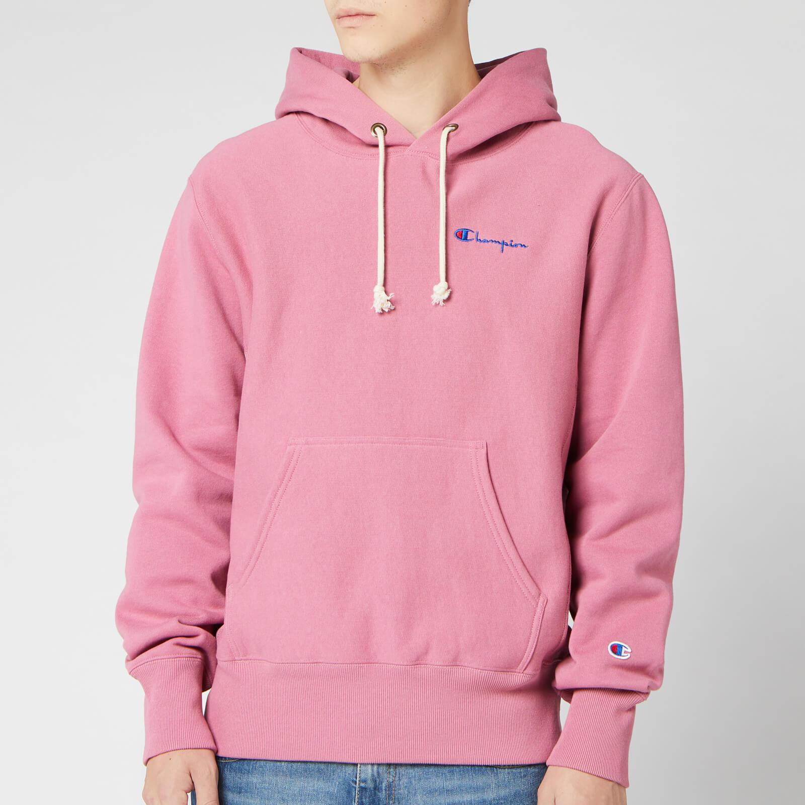 Champion Men's Small Script Hooded Sweatshirt Pink