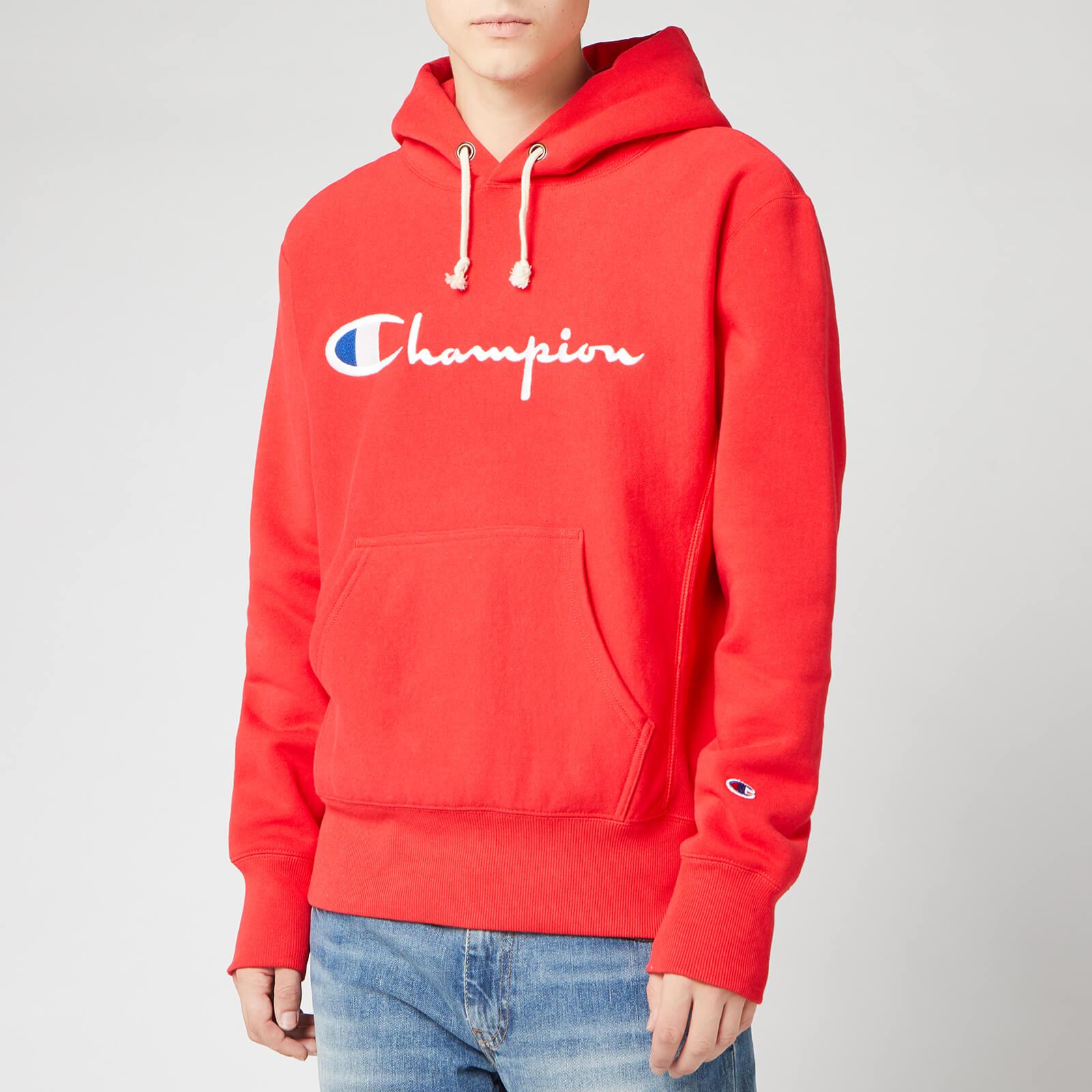 myydyin tuote kuumia uusia tuotteita hyvä istuvuus Champion Men's Big Script Hooded Sweatshirt - Red