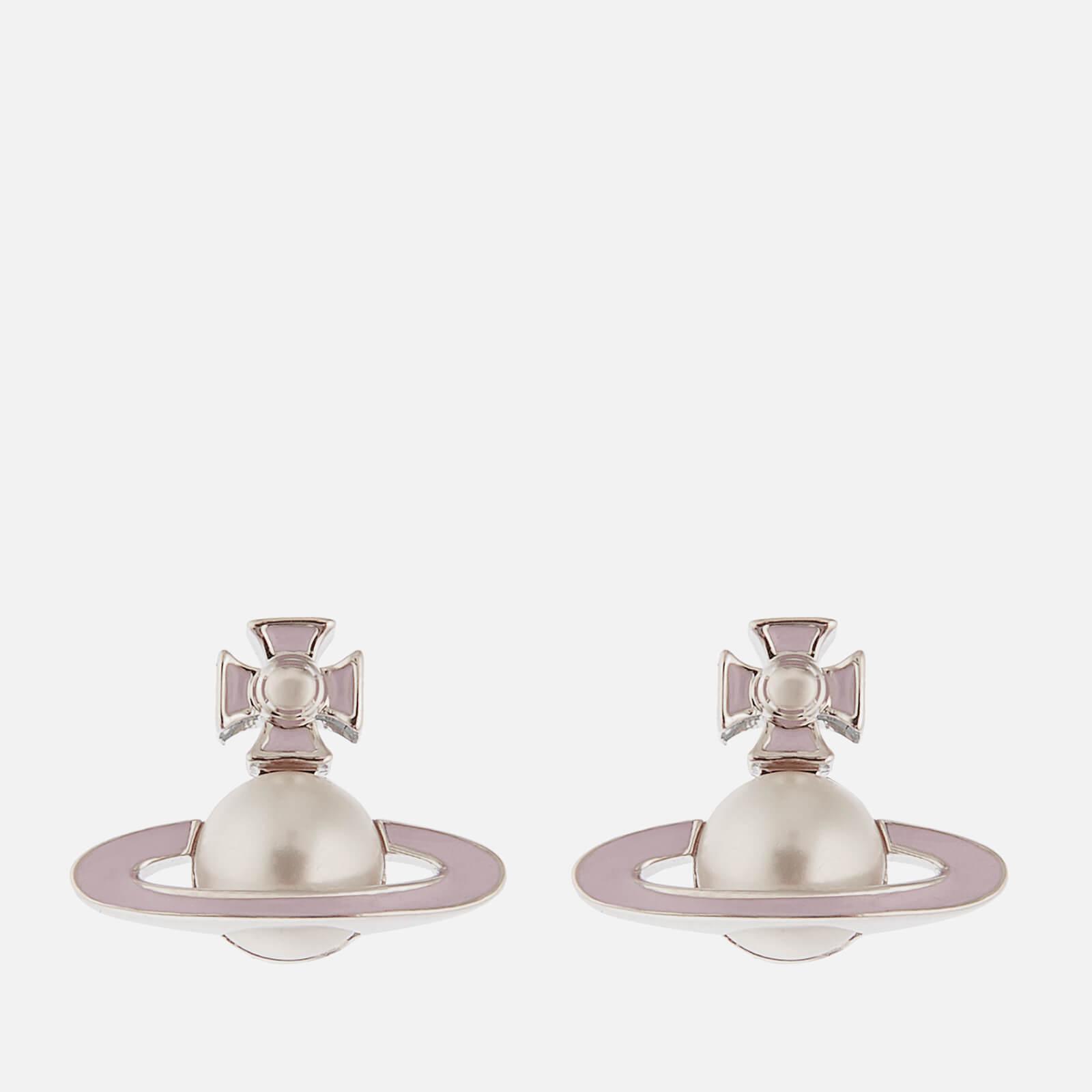 Vivienne Westwood Women S Iris Bas Relief Earrings Rhodium Pearl Pale Pink