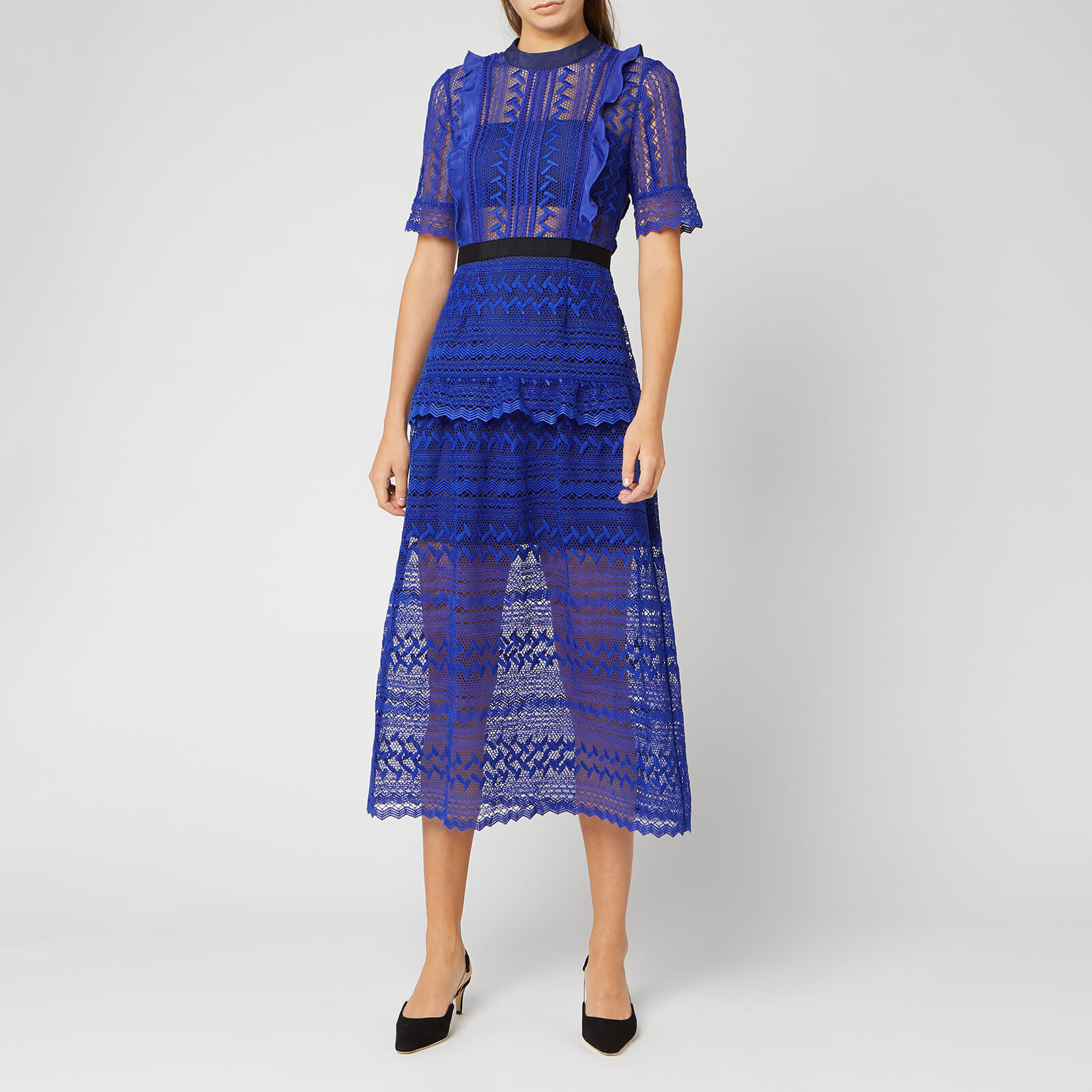 Self Portrait Womens Short Sleeve Geometric Lace Midi Dress Cobalt Blue
