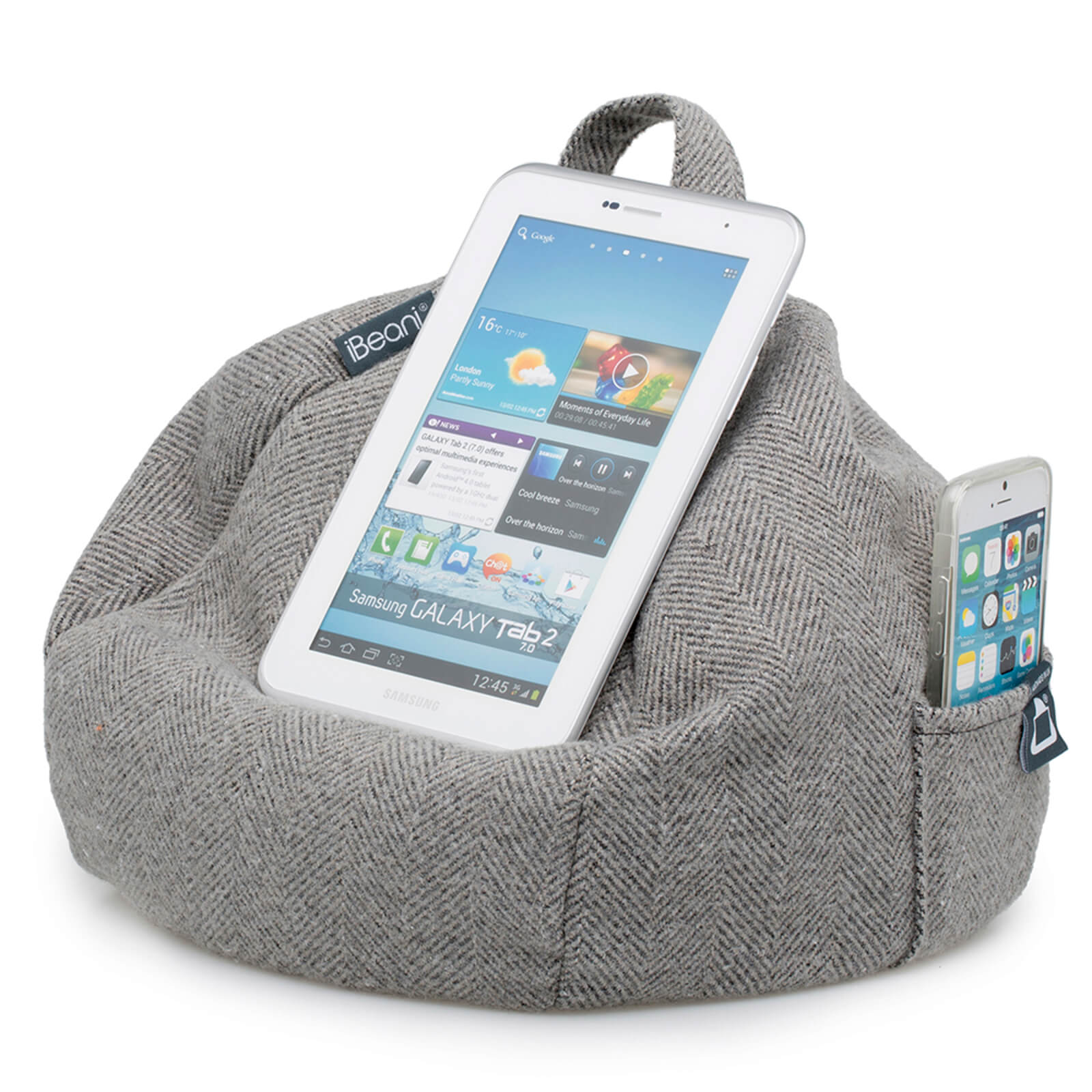 Cool Ibeani Ipad Tablet Ereader Bean Bag Stand Herringbone Grey Squirreltailoven Fun Painted Chair Ideas Images Squirreltailovenorg