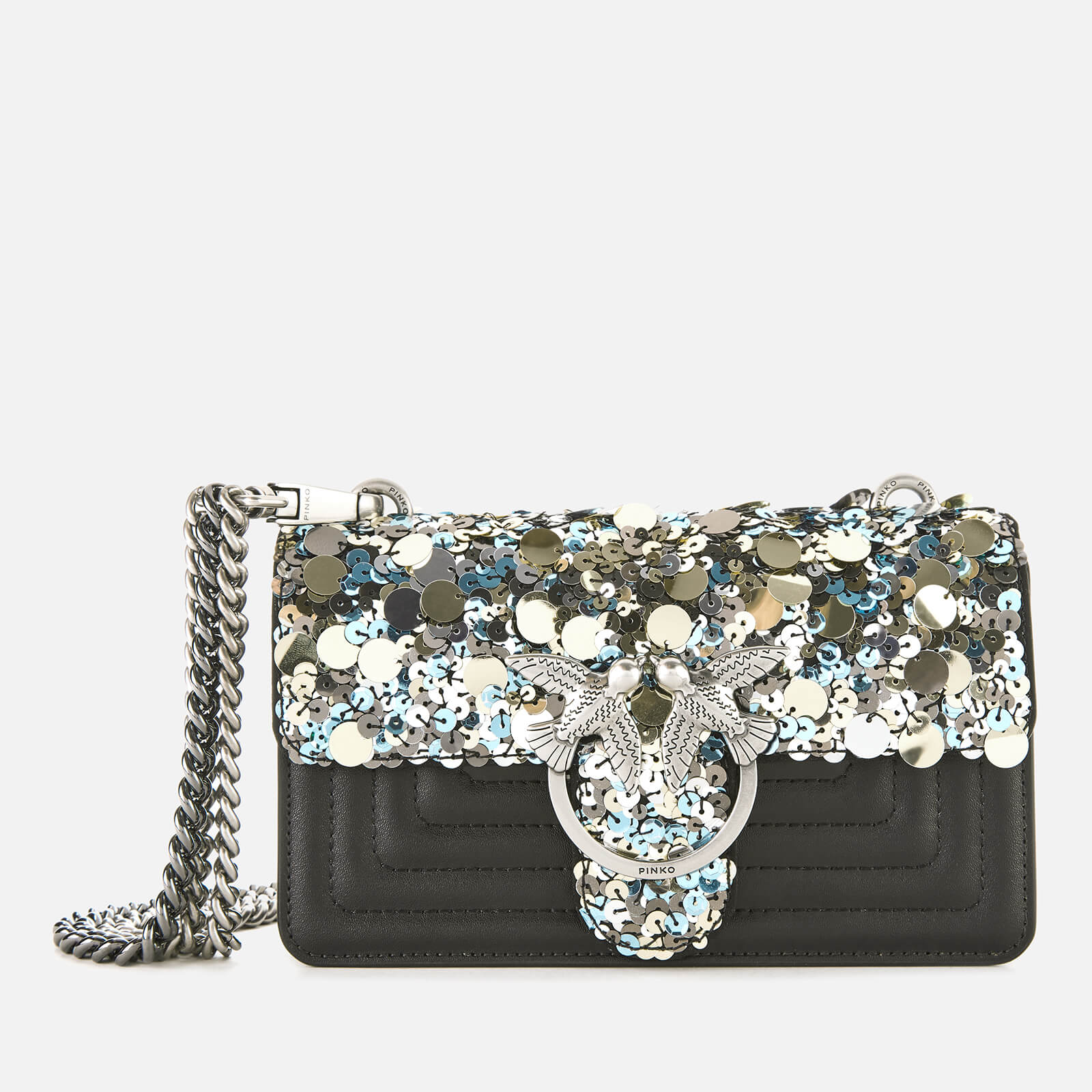 Pinko Women's Mini Love Paillettes Bag - Antracite
