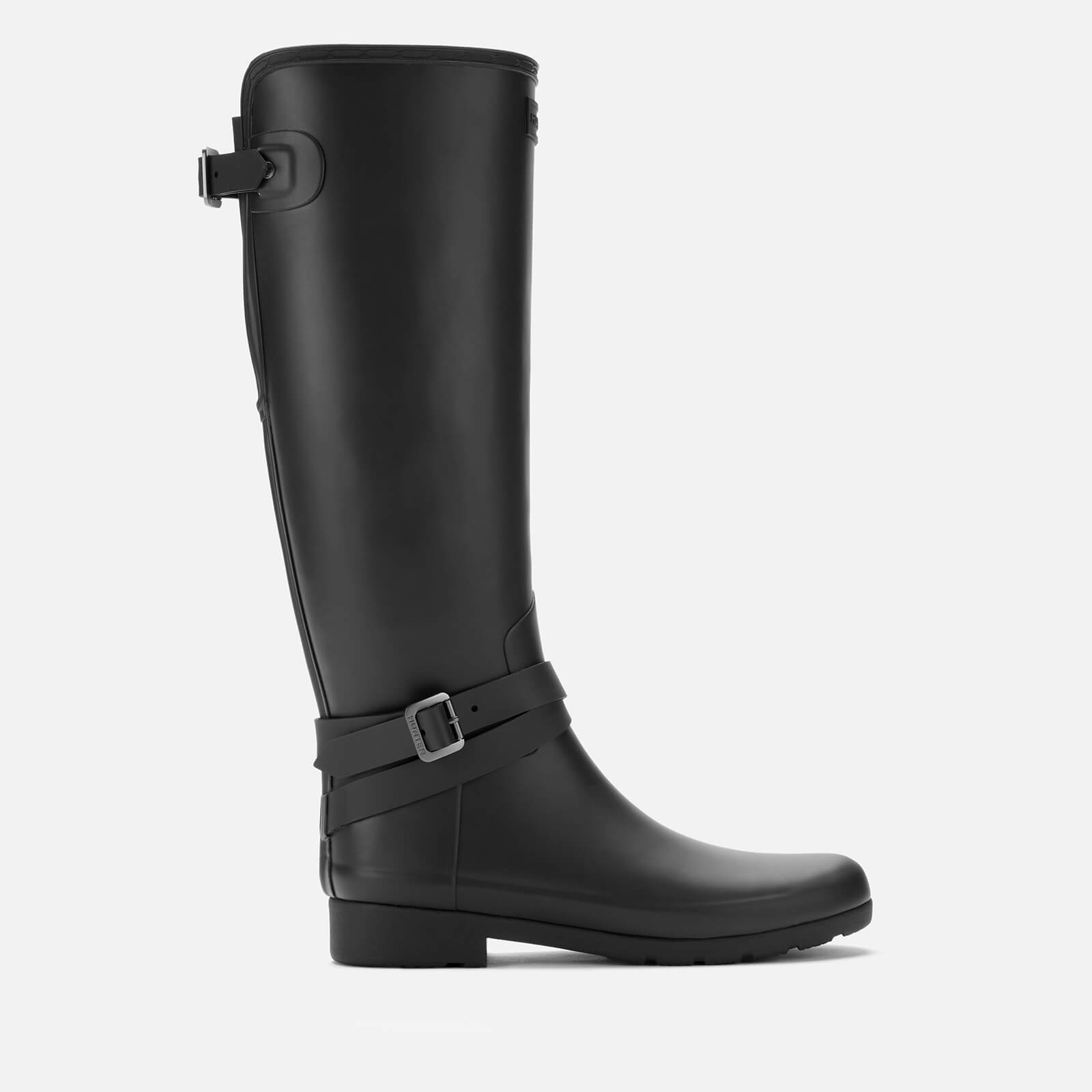 Hunter Women's Refined Back Adjustable Tall Boots with Ankle Strap - Black