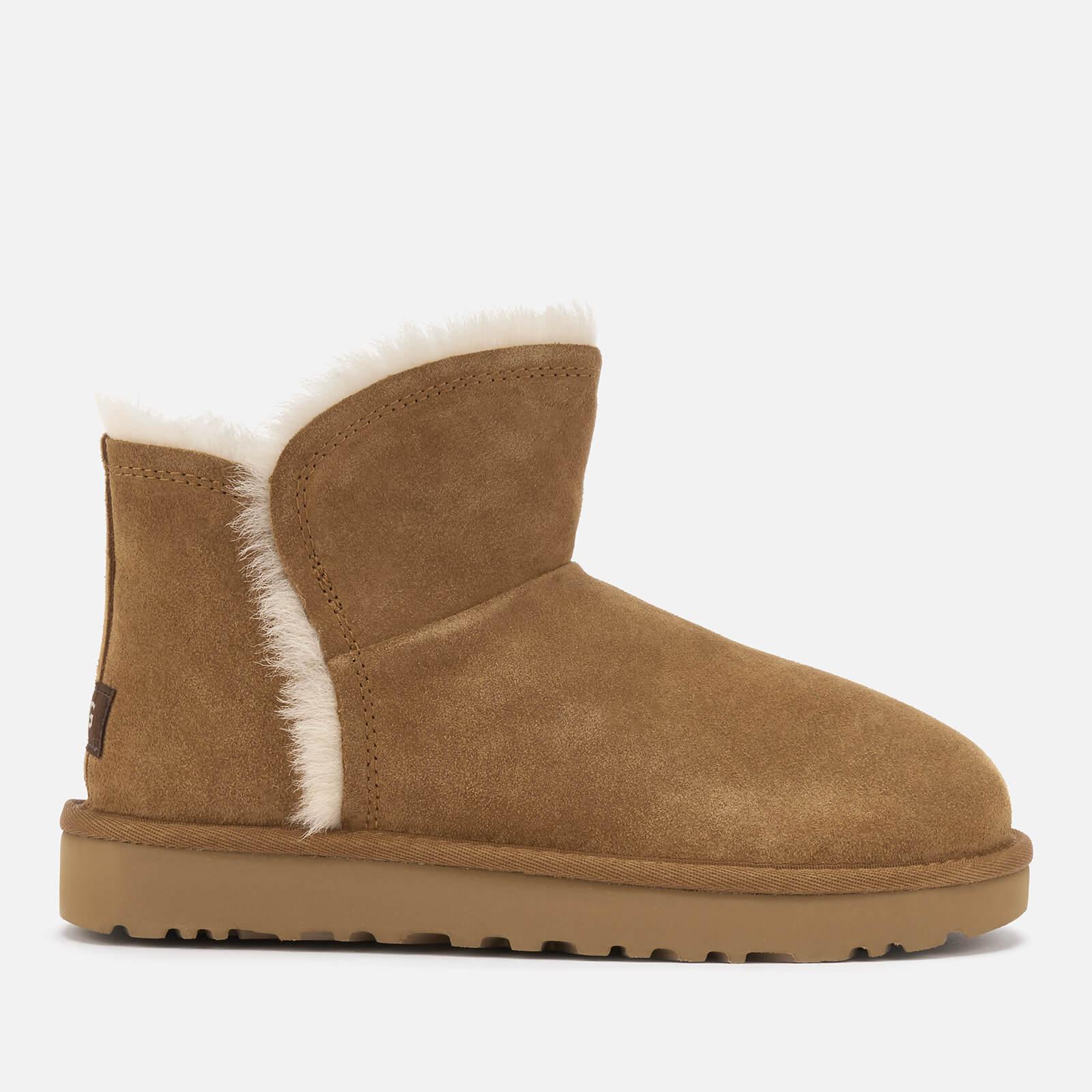 UGG Women's Classic Mini Fluff Trim Sheepskin Boots - Chestnut - UK 7