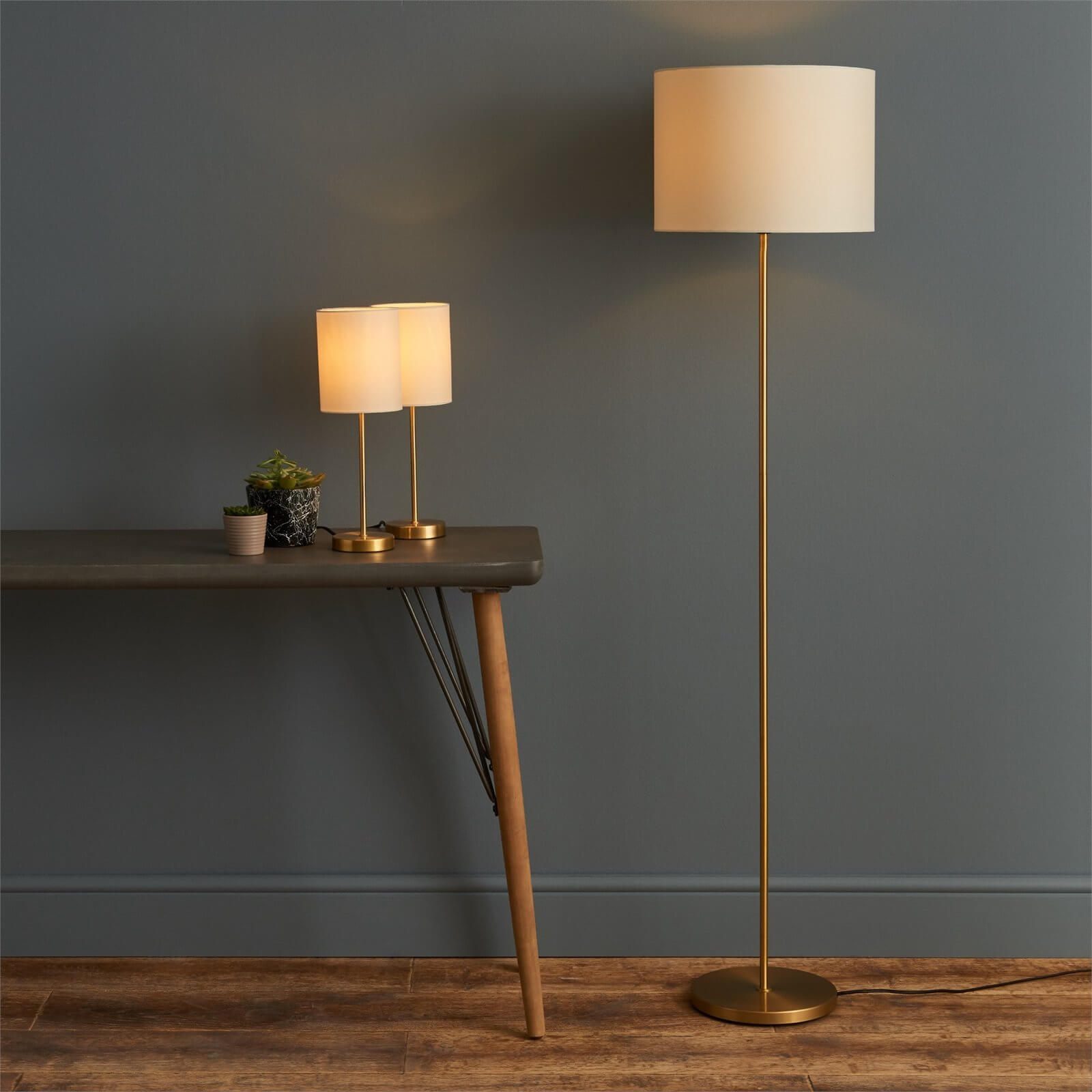 Floor Lamp Matching Table Lamps Set