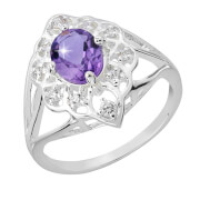 Silver Plated Oval Amethyst Ring