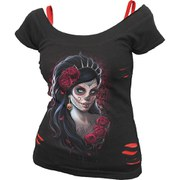 Spiral Women's DAY OF THE DEAD 2 in 1 Red Ripped Top - Black