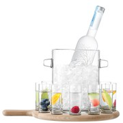 Paddle Vodka Serving Set and Oak Paddle - Clear (38.5cm)