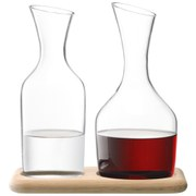 LSA Water & Wine Carafe Set With Oak Base