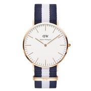 Daniel Wellington Classic Nato Glasgow Rose Gold Watch - Navy/White