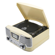 GPO Retro Memphis Turntable 4-in-1 Music System with Built in CD and FM Radio - Cream