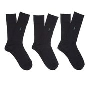 Polo Ralph Lauren Men's Egyptian Cotton Ribbed Socks (3 Pack) - Black