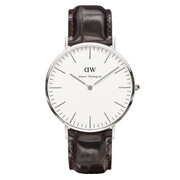 Daniel Wellington Classic York 40mm Silver Watch - Croc Brown