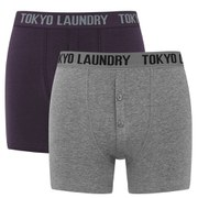 Tokyo Laundry Men's 2 Pack Button Fly Boxers - Grey/Aubergine