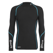 Skins A200 Mens Thermal Long Sleeve Compression Mock Neck Top - Black/Neon Blue