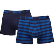 Puma Men's 2 Pack Striped Boxers - Navy/Royal