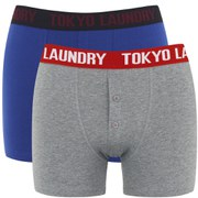 Tokyo Laundry Men's 2-Pack Dwight Boxers - Sapphire/Mid Grey Marl