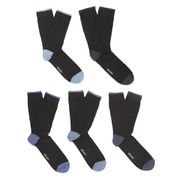 Wolsey Men's 5 Pack Heel and Toe Design Socks - Blue