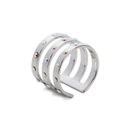 Maria Francesca Pepe Women's Encrusted Triple Band Ring - Rhodium
