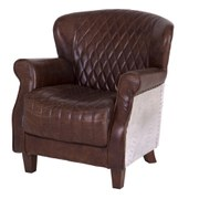 Vintage Aviator Quilted Leather and Aluminium Chair