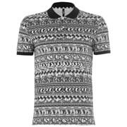 Versus Versace Men's All Over Pattern Polo Shirt - White/Black