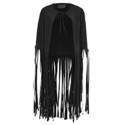 Lavish Alice Women's Faux Suede Fringe Hem Cape - Black