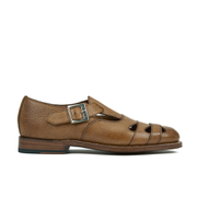 Grenson Women's Briony Grain Leather Cut-out Buckle Flats - Tan