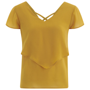 VILA Women's Sora Short Sleeve Blouse - Golden Yellow
