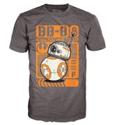 Star Wars The Force Awakens BB-8 Type Poster Pop! T-Shirt - Grey