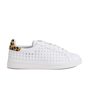 Loeffler Randall Women's Zora Perforated Trainers - White/Cheetah