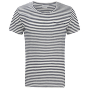 J.Lindeberg Men's Crew Neck Stripe T-Shirt - Off White