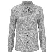 MICHAEL MICHAEL KORS Women's Dallington Silk Tie Bow Shirt - New Navy